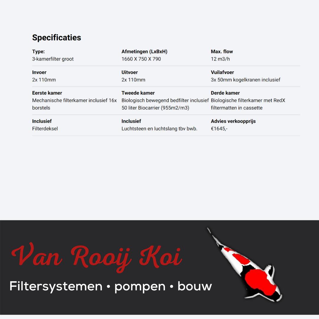 Specificatie -Brabant Koi filtersystemen - 3-KAMER filter groot