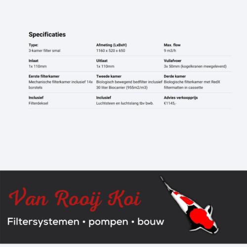 Specificatie -Brabant Koi filtersystemen - 3-KAMER filter smal
