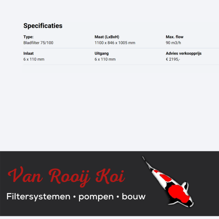 Specificatie -Brabant Koi filtersystemen - Bladfilter 75-100