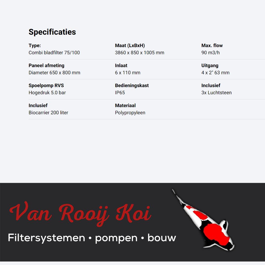 Specificatie -Brabant Koi filtersystemen - Combi-Bladfilter 75-100