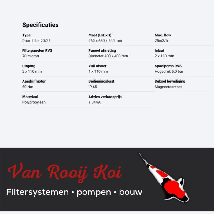 Specificatie Brabant Koi filtersystemen - Drumfilter 20-25