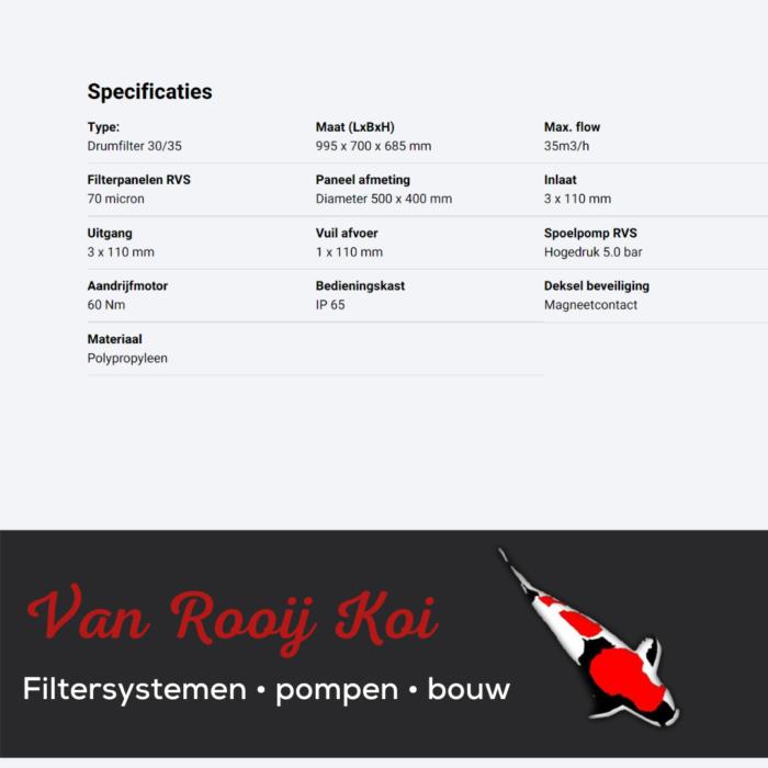 Specificatie Brabant Koi filtersystemen - Drumfilter 30-35