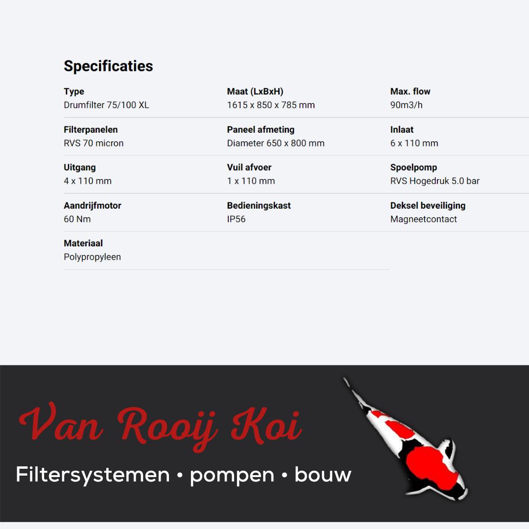 Specificatie Brabant Koi filtersystemen - Drumfilter 75-100XL
