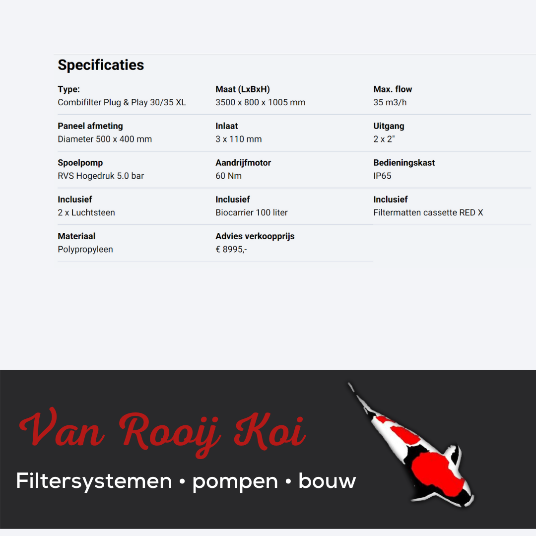 Specificatie -Brabant Koi filtersystemen - Drumfilter Plug&Play 30-35XL