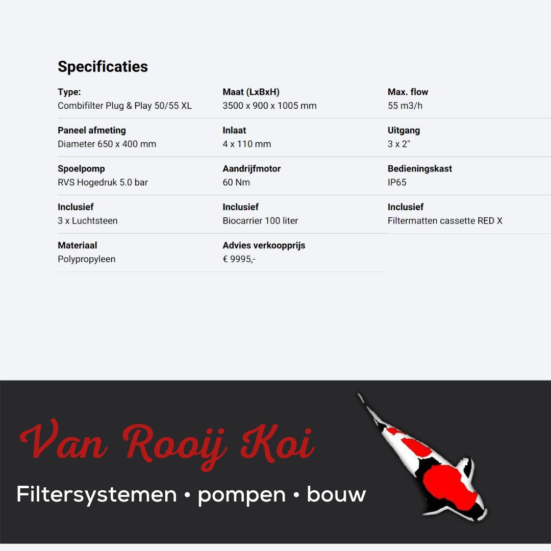 Specificatie -Brabant Koi filtersystemen - Drumfilter Plug&Play 50-55 XL