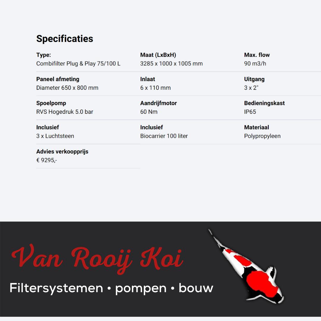 Specificatie -Brabant Koi filtersystemen - Drumfilter Plug&Play 75-100 L