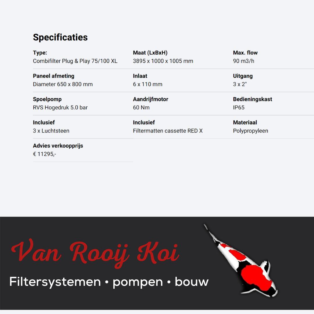Specificatie -Brabant Koi filtersystemen - Drumfilter Plug&Play 75-100 XL
