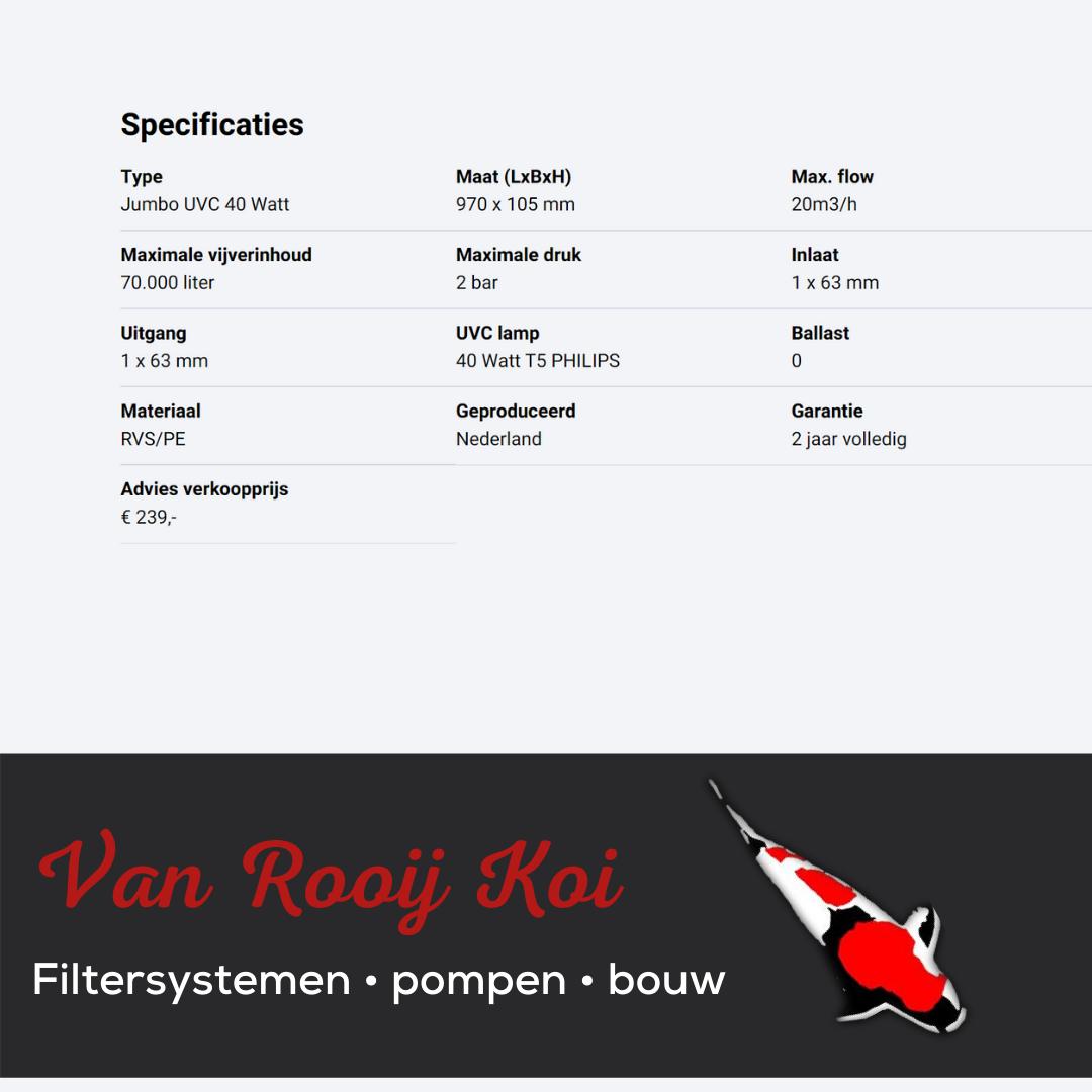 Specificatie -Brabant Koi filtersystemen - JUVC Filter 40 Watt